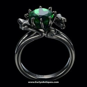 Double Dragon Black Gold Plated Green Emerald Ring